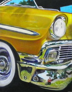 """Vintage Cars Still Life Artists International: """"Car Show Reflections"""" Vintage Car Oil Painting by Arizona Artist Mary Opat Reflection Art, Reflection Photography, Paintings Famous, Nature Paintings, Gcse Art Sketchbook, Acrylic Painting Inspiration, Painting Wood Paneling, Still Life Artists, Painting Still Life"""