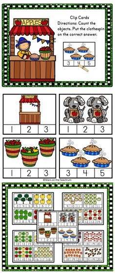 Apple theme Counting Clip Cards for numbers 1-20.