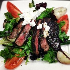 Flat Iron Steak Salad with Red Potatoes, Roma Tomatoes, Cucumbers, Asparagus, Mixed Baby Field Greens and Truffle Honey Vinaigrette