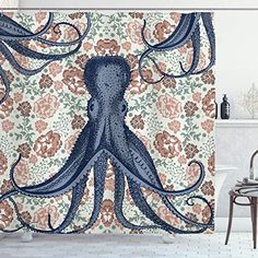 84 Inches Extra Long Octopus Tentacles Background Underwater Marine Nature and Sea Creatures Nautical Decor Polyester Fabric Bathroom Shower Curtain Grey Orange Ambesonne Octopus Decor Collection