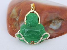 Vintage 18K Solid Yellow Gold Laughing Buddha Green Jadeite