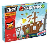 Bring the Angry Birds app to life! With the All Hams On Deck building set you can actually build and destroy a level from the original Angry Birds game! Launch Red and Chuck to destroy the evil Minion Pigs.  Includes a working launcher just like the game, 170+ parts to build and knock down, and a bonus watermelon.  Everything included works with other K'NEX Angry Birds sets.  Perfect for builders ages 7+.
