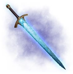 Hryum - A long sword formed from ice; protects wielder from nature cold (total) and magical cold Triples damage to fire based creatures. 4 times a day sends an ice shard up to doing 4 x damage Fantasy Sword, Fantasy Weapons, Fantasy Rpg, Ice Sword, Sword Design, Anime Weapons, Ninja Weapons, Weapon Concept Art, Swords And Daggers