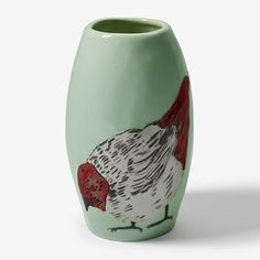 West Elm Gemma Orkin Red Bird Vase = need. The Potter's Hand, Exclusive Collection, West Elm, Ceramic Pottery, Artisan, Bird, Hand Painted, Painting, Vases