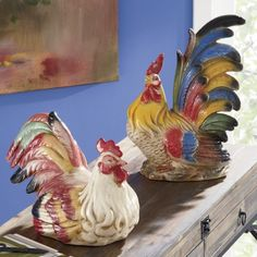 Ceramic Roosters from Through the Country Door®