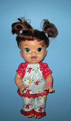 Real Baby Alive Snackin Sara Doll Clothes Snowman Pajama