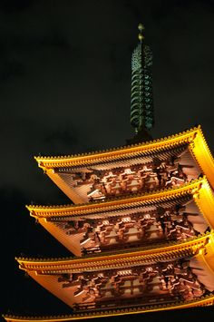 The five-layered pagoda of the Senso-ji temple. Hiroshi Yoshida, Cozy Living Spaces, Number 3, Rising Sun, Bright Lights, World Of Color, Tokyo Japan, Facades, Japan Travel