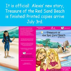 Alexis and Elena travel to the Red Sand Beach and meet Tatiana.  Together the girls end up on a treasure hunt.  What treasures will they find?  Cute story, illustrations designed for coloring, flip animation on the corners of the pages and a beginning lesson to learn how to speak Brazilian Portuguese like Tatiana!