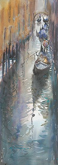 Venice Reflections XI by Keiko Tanabe Watercolor ~ 29 x 10 inches (74 x 25 cm)