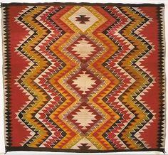 Historic Native American Textile : circa 1900 Red Mesa Transitional Blanket - Nizhoni Ranch Gallery.