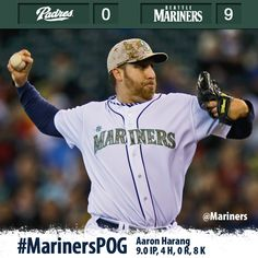 Aaron Harang tosses complete game shutout; #Mariners top #Padres, 9-0. 5/27/13