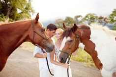 Princeville Ranch wedding with horses