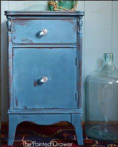 Annie Sloan Aubusson Nightstand painted by The Painted Drawer