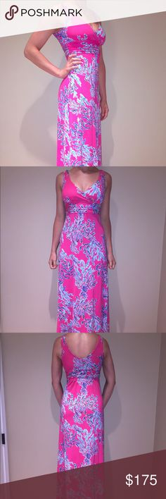 Lilly Pulitzer Sloane Pink Blue Coral Maxi Dress Size : XS (fits like a Small), 96% Rayon, 4% Spandex, NEVER WORN Lilly Pulitzer Dresses Maxi