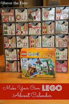 Savor The Days: Make Your Own LEGO Advent Calendar. Great idea for small pieces that fit in daily surprise space and working toward a completed toy over the Advent season. Lego Christmas, Christmas Crafts For Kids, Christmas Activities, Christmas Countdown, Christmas Projects, All Things Christmas, Holiday Crafts, Holiday Fun, Christmas Holidays