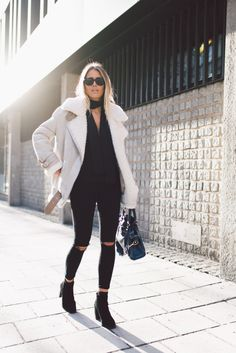 RayBan glasses/ Acne jacket/ Lindex scarf/ Nelly jeans / Balenciaga bag/ Jennie … – Rebel Without Applause Look Fashion, Fashion Outfits, Womens Fashion, Net Fashion, Cheap Fashion, Street Fashion, Fashion Trends, Acne Shearling Jacket, Fall Winter Outfits