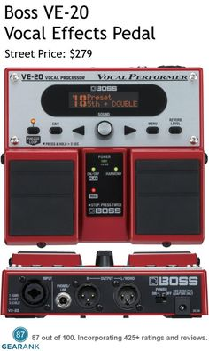 Boss VE-20 Vocal Effects Processor Pedal.  Features: Specialized effects for vocalists, including Harmony, Double-Track, Dynamics, Reverb, Delay, and more - Create the total of 3-part harmonies and layers - Realtime pitch-correction tools - Special FX, including Distortion, Radio and Strobe - Phrase Looper with 38 seconds (mono) of recording time - Phantom power for condenser microphones. For a Detailed Guide to The Best Vocal Effects Pedals see…
