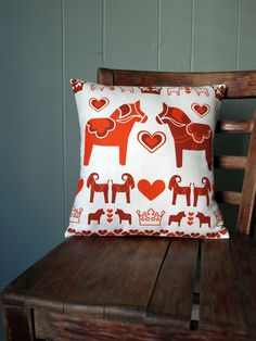 Red Swedish Printed Pillow with Dalahäst and by LilleputtStudio, $36.00
