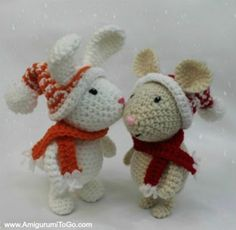 See what I have found Freubelweb.nl: a free crochet pattern (including NL translation) by Amigurumi To Go for the left winter rabbit www. Crochet Christmas Decorations, Crochet Christmas Trees, Crochet Ornaments, Holiday Crochet, Crochet Diy, Crochet Amigurumi, Easter Crochet, Crochet Bunny, Crochet Dolls Free Patterns