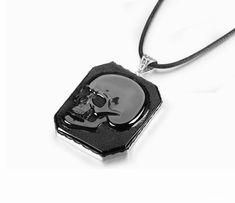 Black Obsidian Carved Crystal Skull Pendant/Necklace with Sterling Silver Skull Pendant, Pendant Necklace, Black Skulls, Crystal Skull, White Light, Lava, Darkness, Dog Tag Necklace, Carving