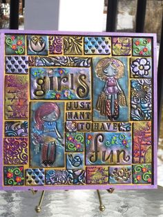 Girls Just want to have Fun Clay tile Mosaic by myserenitycrafts12 on Etsy https://www.etsy.com/listing/225947863/girls-just-want-to-have-fun-clay-tile