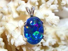 18x13 Australian Black Opal Pendant Triplet 14.2 ct. Solid 930 Sterling Silver by JewelrybyPatterson on Etsy