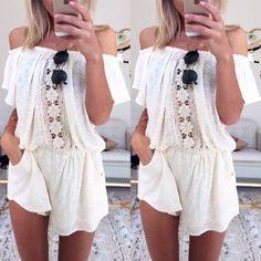 Summer Women Floral Casual Short Sleeve Bodycon Romper jumpsuit Playsuit Dress #Unbranded #Jumpsuit