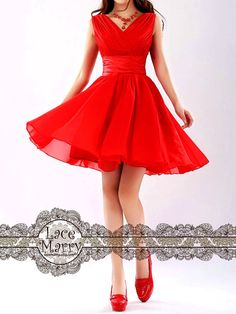 Short Bridesmaid Dress with VNeck and Flowy Skirt by LaceMarry. (Make in black with red belt accent)