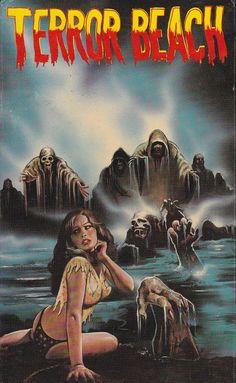 "Night of the Seagulls aka ""Terror Beach"" movie poster Sci Fi Horror Movies, Classic Horror Movies, Horror Movie Posters, Horror Comics, Scary Movies, Action Movie Poster, Movie Poster Art, Arte Do Pulp Fiction, Sexy Horror"