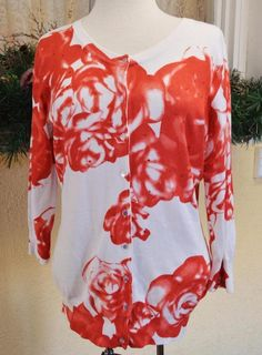Cyrus Embellished Roses Sweater L Party Fun Spring Cruise Chic Boho Wear w/Jeans #Cyrus #Cardigan