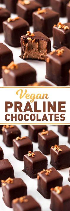 Vegan Praline Chocolates Vegan Praline Chocolates Full Of Plants Brownie Desserts, Oreo Dessert, Mini Desserts, Coconut Dessert, Small Desserts, Chocolate Desserts, Vegan Dessert Recipes, Candy Recipes, Delicious Desserts