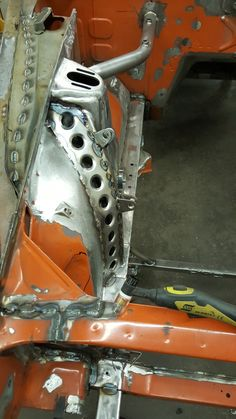 tig welding the flared hole gussets to the aprons. 240z Datsun, Datsun Car, Nissan Z Cars, Nissan Nismo, Custom Rat Rods, Custom Cars, Alfa Bertone, Roadster Car, Custom Metal Fabrication