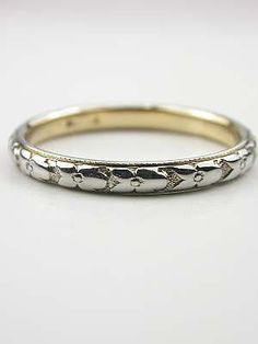 Antique Wedding Ring with Orange Blossom Motif from Topazery