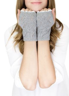 GRAY LACE MITTENS fingerless lace knit gloves with by gertiebaxter, $26.50