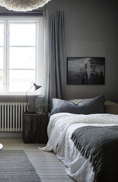 The star of your bedroom may be the bed, but don't count out bold nightstands as an essential part of the room. A bedroom without a bedside table means that things like your clock, smartphone, books and lamps are without a home. Farmhouse Master Bedroom, Gray Bedroom, Home Bedroom, Modern Bedroom, Bedroom Decor, Bedroom Curtains, Grey Curtains, Bedroom Ideas, Bedroom Inspiration Cozy