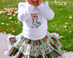 Ari's Angels Girls Christmas Outfit, Christmas Shirt & Full Twirling Skirt