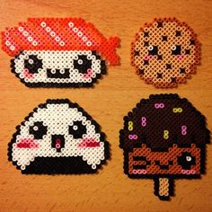 Kawaii food hama pearls by evichuchan - Perler beads Perler Bead Designs, Perler Bead Templates, Hama Beads Design, Diy Perler Beads, Perler Bead Art, Pearler Beads, Pearler Bead Patterns, Perler Patterns, Hama Beads Kawaii