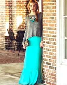 Grey sweater and turquoise maxi