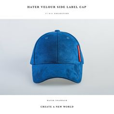 ea0d0d96e9c HATer Velour Side Label Cap- Blue Leather Fashion