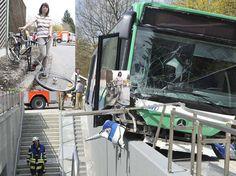Planegg: Bus landet zwischen Schutzwall und Unterführung   Region