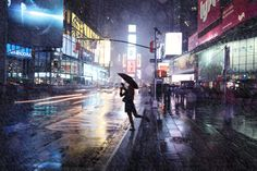 Time Square in the rain