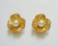 Christian Dior Flower w/Pearl Clip on by RockArtemisVintage, $75.00