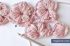Tutorial #87: Punto Flor de PopCorn a Crochet ~ CTejidas [Crochet y Dos Agujas]