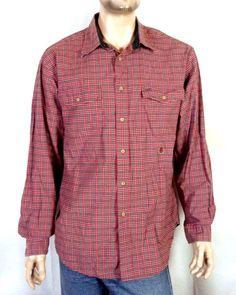 af7576469 vtg 90s euc Tommy Hilfiger Fine Red Plaid Check Button Down Dress Shirt sz  XL