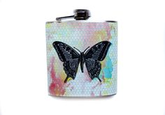 Colorful Butterfly Flask