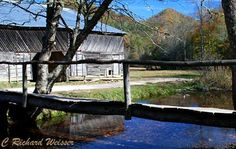 Caldwell Barn and footlog in Cataloochee in the Great Smoky Mountains National Park.