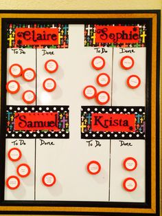 DIY chore chart for multiple kids. I got my inspiration for this design/ format from lemonsqueezyhome.com. I used a magnetic dry erase board & painted homemade magnets. The stickers on the magnets are Avery printable round labels.  I secured the labels to the wood with glue dots.