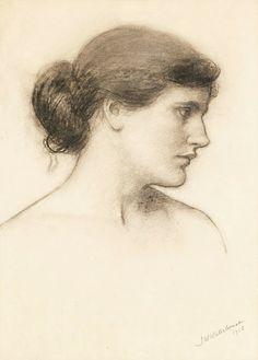 John William Waterhouse (British, 1849 - 1917) Head Study (1915) charcoal 18 X 14 in.