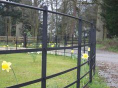 Norfolk Estate Fencing Wood Pallet Fence, Deer Fence, Front Yard Fence, Fence Gate, Garden Railings, Gates And Railings, Deck Railings, Garden Fencing, House Landscape