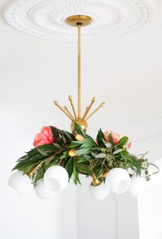 Favorite Project (create your own floral chandelier garland via Sugar & Cloth's fun and simple tutorial)